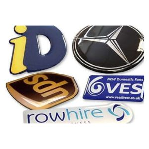 Domed Resin Stickers & Labels with Branded Logos and Text.
