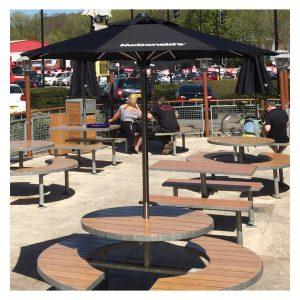 Garden & Small bench parasols branded for McDonalds restaurant chain. Black parasol membrane printed in white by Parker Masters Ltd. Parasols