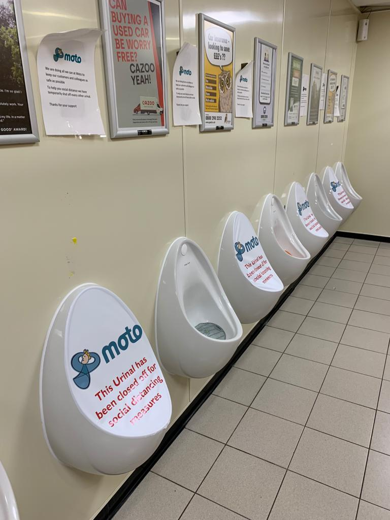 Urinal Covers for Social Distancing. Full colour printed vinyl, for low energy surfaces.