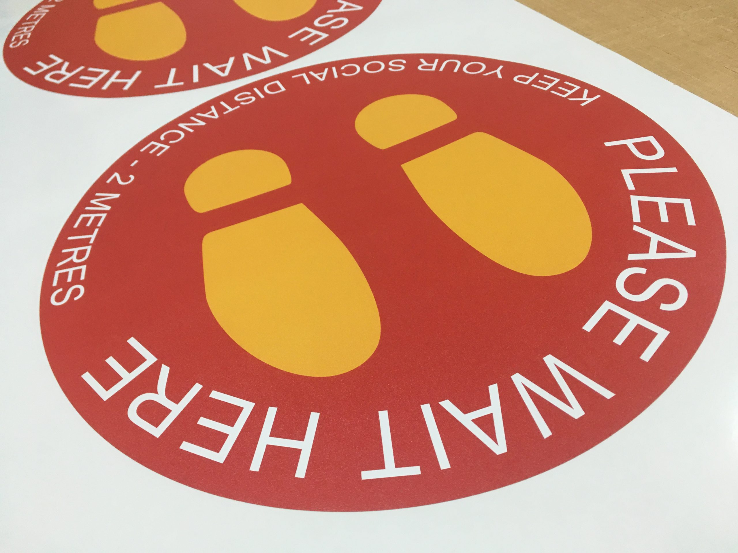 Floor Stickers for Social Distancing. Floor stickers for; smooth surfaces, carpets and for outdoor use.