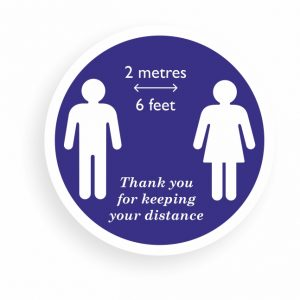 Removable Floor Vinyl Decals| Self Cling Window Stickers | 2 Metres (6 Feet). Social distancing information stickers. Thank you for keeping your distance