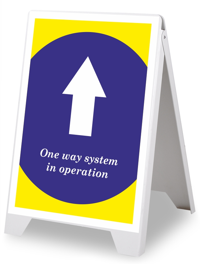 A Board Pavement Signs | Social Distancing One Way System in Operation.