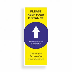 Roller Banner Stand Pop-up for Social Distancing One Way System in Operation. Bespoke designs available on request.