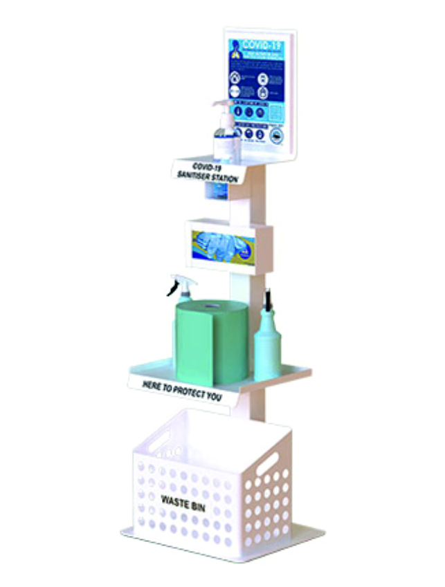Handy Premier Sani-Stand which can be supplied with; hand sanitiser, paper towels, plastic gloves and disinfectant. The stand also includes an information posters, a shelf for hand sanitiser, a container for plastic gloves, another shelf for paper towels and disinfectant which a waste bin at the bottom.