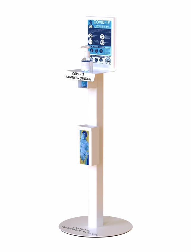 Handy Standard Sani-Stand which can be supplied with; hand sanitiser, and plastic gloves. The stand also includes an information posters, a shelf for hand sanitiser and a container for plastic gloves.
