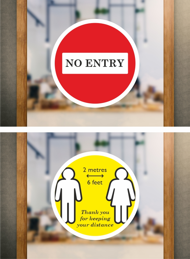 Self Cling Window Stickers | No Entry | 2 Metres (6 Feet). These window stickers are removable and reusable.