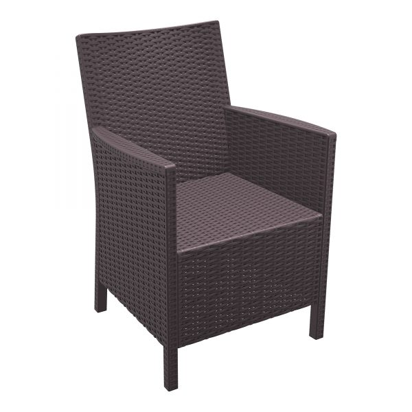 California Comfort Chair Brown. Durable outdoor arm chairs CALIFORNIA arm chair is designed for easy self-assembly. It is made of durable weather resistant resin reinforced with glass fibre. Non-metallic frame will never unravel, rust or decay. It is UV protected which ensures the colours will not fade. For outdoor use may also be used indoor if required.