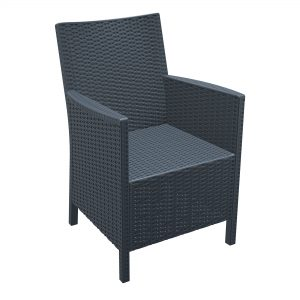 California Comfort Dark Grey. Durable outdoor arm chairs CALIFORNIA arm chair is designed for easy self-assembly. It is made of durable weather resistant resin reinforced with glass fibre. Non-metallic frame will never unravel, rust or decay. It is UV protected which ensures the colours will not fade. For outdoor use may also be used indoor if required.