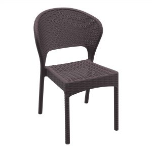 Daytona Side Chair Brown. Stackable outdoor chairs DAYTONA chair is stackable and made of durable weather-resistant resin reinforced with glass fibre. Non-metallic frame will never unravel, rust or decay. It is UV protected which ensures the colours will not fade. For outdoor use may also be used indoor if required.