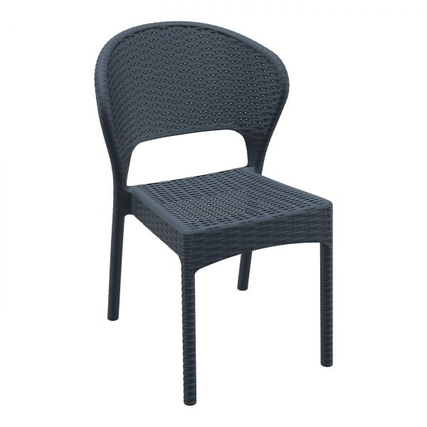Daytona Side Chair Dark Grey. Stackable outdoor chairs DAYTONA chair is stackable and made of durable weather-resistant resin reinforced with glass fibre. Non-metallic frame will never unravel, rust or decay. It is UV protected which ensures the colours will not fade. For outdoor use may also be used indoor if required.