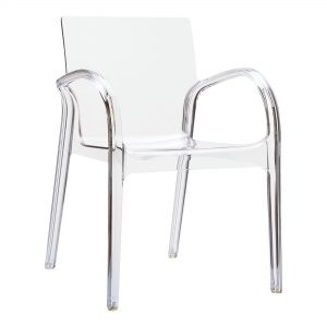 Dejavu Armchair Clear Transparent. Made from shiny technopolymer PA6 Nylon or clear polycarbonate. Stacks 6 high. Suitable for both indoor and outdoor use – UV resistant. Available in a range of colours.