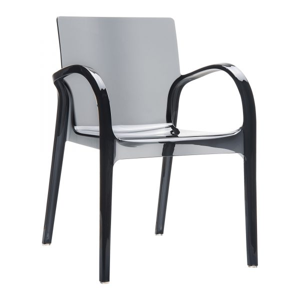 Dejavu Armchair Glossy Black. Made from shiny technopolymer PA6 Nylon or clear polycarbonate. Stacks 6 high. Suitable for both indoor and outdoor use – UV resistant. Available in a range of colours.
