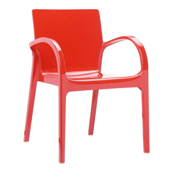 Dejavu Armchair Glossy Red. Made from shiny technopolymer PA6 Nylon or clear polycarbonate. Stacks 6 high. Suitable for both indoor and outdoor use – UV resistant. Available in a range of colours.
