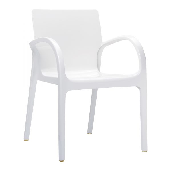 Dejavu Armchair Glossy White. Made from shiny technopolymer PA6 Nylon or clear polycarbonate. Stacks 6 high. Suitable for both indoor and outdoor use – UV resistant. Available in a range of colours.