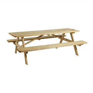 The Heavy Duty picnic table is manufactured from spruce wood and comes in a rectangular design with rounded edges at the interior of the bench.