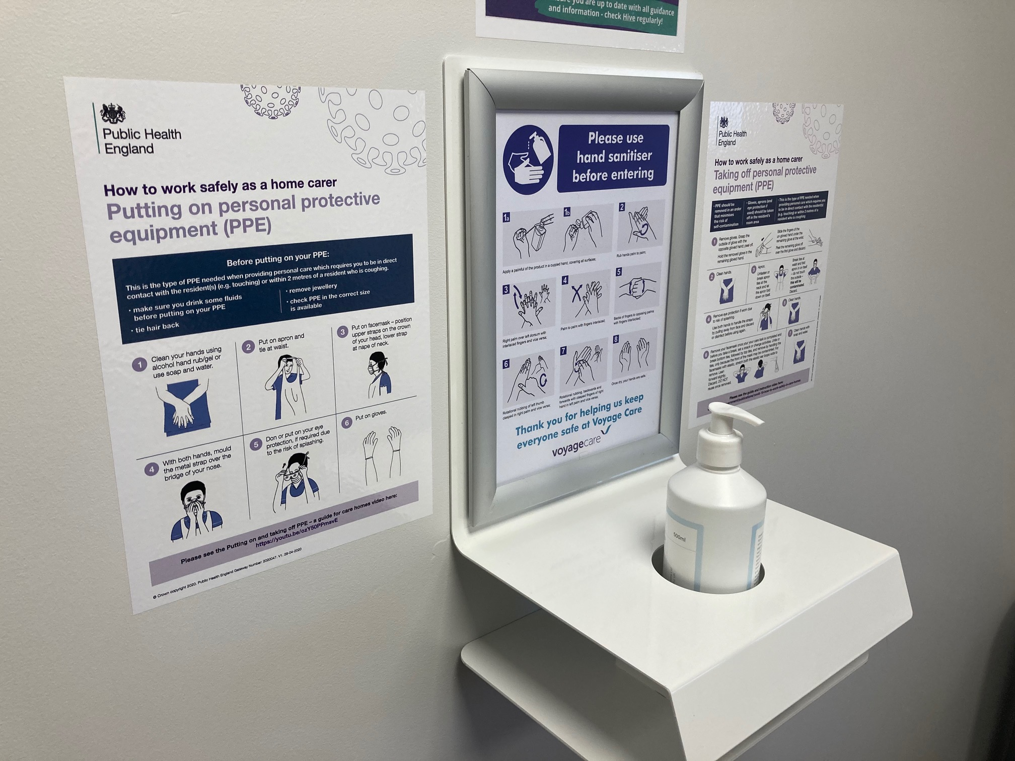 Wall Mounted Hand Sanitiser Unit & Wipe Clean Posters
