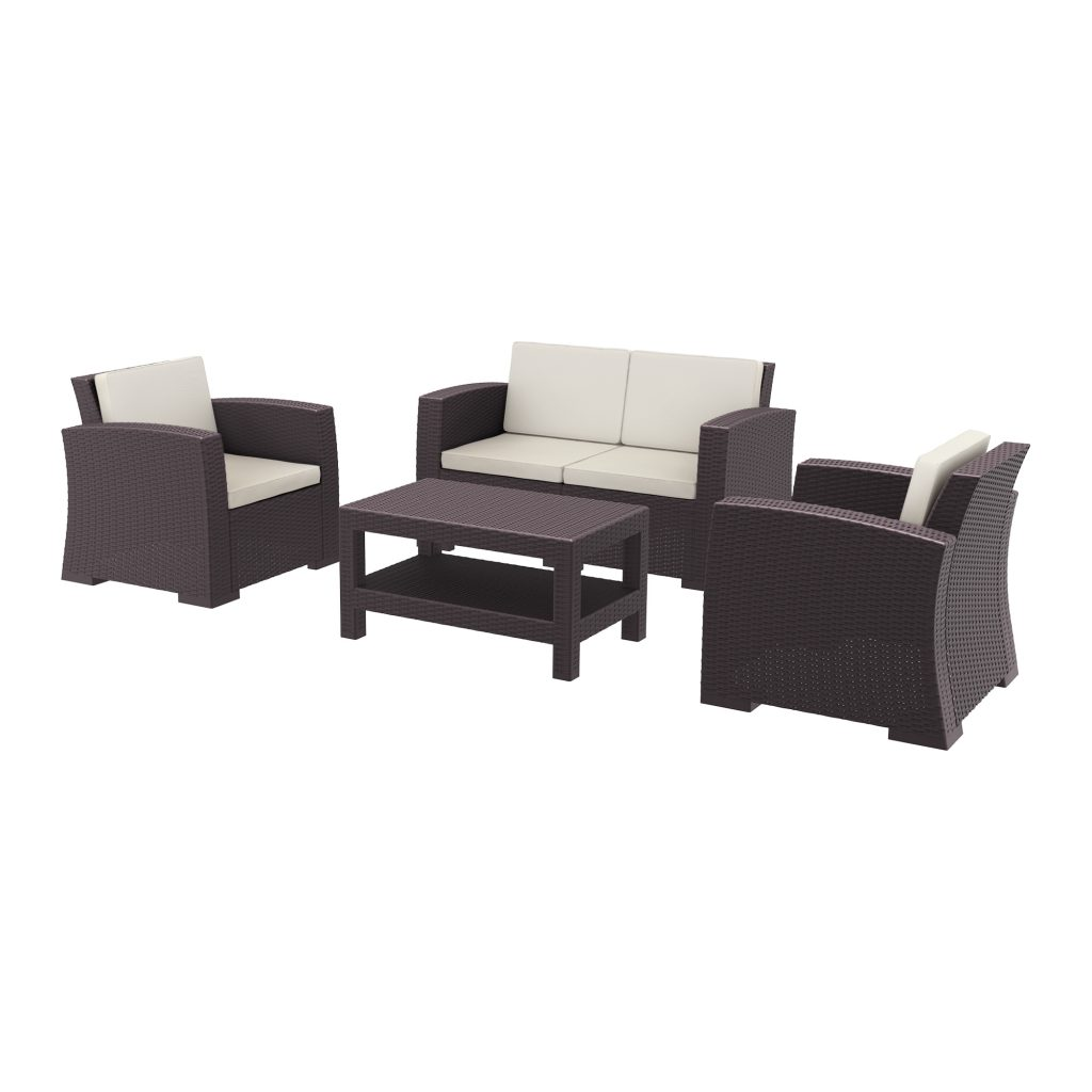 MONACO Lounge Set is designed for easy self assembly. It is made of durable weather-resistant resin reinforced with glass fibre. Non-metallic frame will never unravel, rust or decay. It is UV protected which ernsures the colours will not fade. Can be disassembled. For indoor and outdoor contract use.