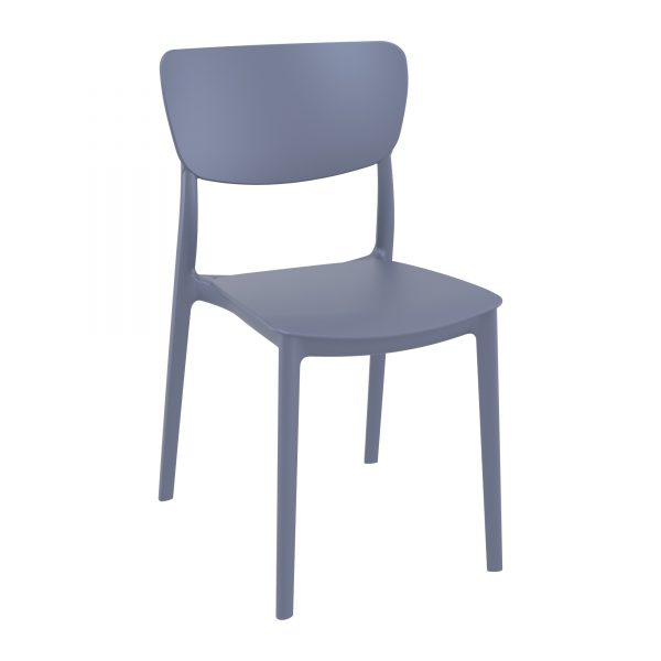 Stylish contemporary side chair The MONNA side chair is available in three colours: olive green, white and dark grey, and is perfect for an array of settings, both indoor and outdoor. Manufactured from a single shot of polypropylene and reinforced with glass fibre, this chair won't fade in bright sunshine, nor will it rot or mould in wet weather conditions – In fact, little to no maintenance is required.