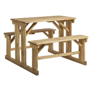 Newport Walking Bench Poseur Height. Manufactured from solid Spruce wood, pressure treated with a high quality wood preserver to ensure maximum durability. Also available in a 8-seater version. Perfect for pub, restaurant and bistro gardens.