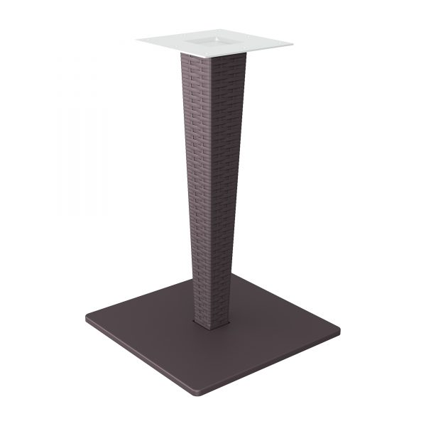 Rattan leg and painted aluminium base. Can be disassembled if required. Primarily for outdoor use but can also be used indoors.