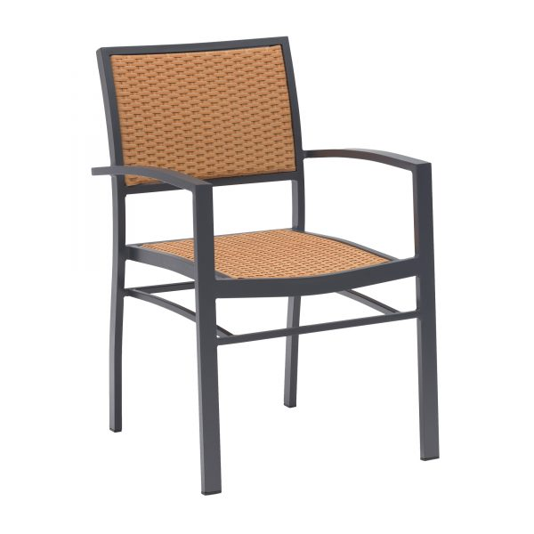 The frame is manufactured from aluminium in anthracite and so is entirely weather resistant. The seat and back rest are made from tan weave, resulting in an attractive, contrasting look.