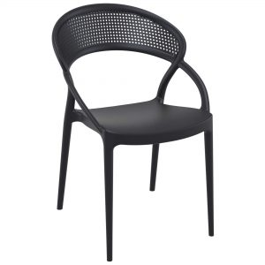 Sunset Armchair Black. Sunset chair is produced with a single injection of polypropylene reinforced with glass fiber obtained by means of the latest generation of air moulding technology with neutral tones. For indoor and outdoor use.