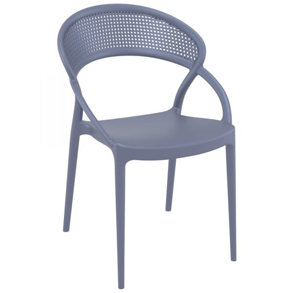Sunset Armchair Dark Grey. Sunset chair is produced with a single injection of polypropylene reinforced with glass fiber obtained by means of the latest generation of air moulding technology with neutral tones. For indoor and outdoor use.