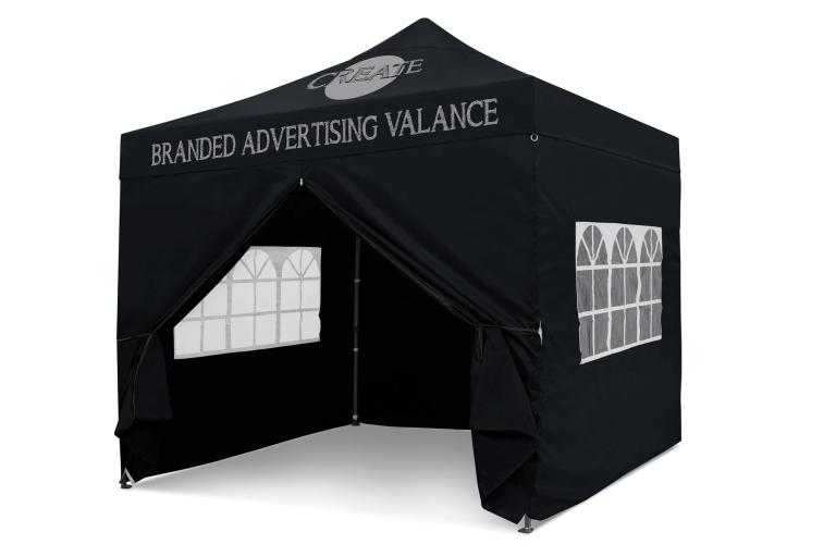 Black 3m x 3m Pop-uo Gazebo - Branded Roof & Valance