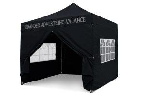Black 3m x 3m Pop-uo Gazebo - Printed Valance