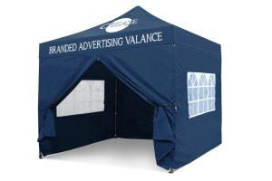 Blue 3m x 3m Pop-uo Gazebo - Branded Roof & Valance