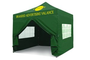 Green 3m x 3m Pop-uo Gazebo - Branded Roof & Valance
