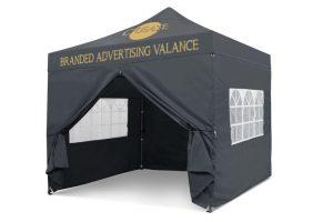 Grey 3m x 3m Pop-uo Gazebo - Branded Roof & Valance