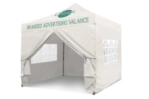 White 3m x 3m Pop-uo Gazebo - Branded Roof & Valance